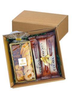 Zeit für Kakao Geschenkbox mit Gebäck und heisser Schokolade